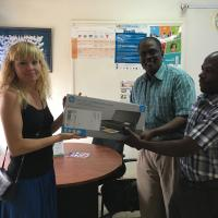 WBFN Uganda. Visit and printer donation to Reproductive Health, Uganda. Coordinated by WBFN Champion Johanne Hjort. Nov 2017.